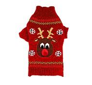 Коты Собаки Свитера Одежда для собак Зима Северный олень Рождество Новый год Черный Красный