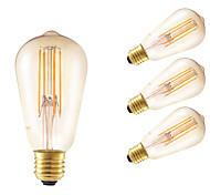 cheap -GMY® 4pcs 350lm E26 / E27 LED Filament Bulbs ST58 4 LED Beads COB Dimmable Decorative Amber 220-240V