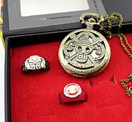 Часы / Больше аксессуаров Вдохновлен One Piece Ace Аниме Косплэй аксессуары Часы / кольцо Золотистый Сплав