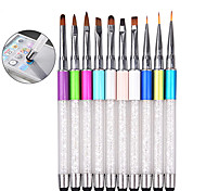 1pcs Rhinestone Nail Art Brush Pen Screen Touchable Quartz Metal Acrylic Handle Carving Salon DIY Liner Manicure Tools