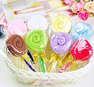 baratos -presente de aniversário pirulito forma de fibra toalha criativo (cor aleatória)