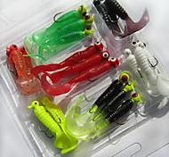Недорогие -21 штук Мягкие приманки Рыболовная приманка черви личинка г / Унция мм дюймовый, Мягкие пластиковые Морское рыболовство Пресноводная