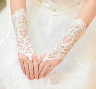 До запястья С открытыми пальцами Перчатка Тюль Свадебные перчатки Весна Лето Осень Зима Стразы