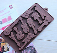 10 Hole Guitar Shape Cake Ice Jelly Chocolate Molds,Silicone 15×14.5×1.5 CM(6.0×5.8×0.6 INCH)