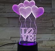 четыре сердца любовь 3d подарок на день рождения ночь свет коснуться Contral красочные акриловые стерео энергия света градиент настольной