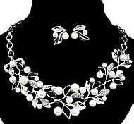Европейский стиль моды металлические стразы жемчуг листва личность и темперамент серьги& комплект ожерелья