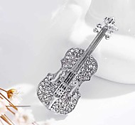 cheap -Fashion Pins Accessories lapel pin Gold Plated Crystal Violin Scarf Brooches For Women Rhinestone Brooch Wedding Broche
