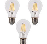 cheap -3pcs 3.5W 400lm E26 / E27 LED Filament Bulbs A60(A19) 4 LED Beads COB Dimmable Warm White 110-120V 220-240V