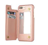 For iPhone 8 iPhone 8 Plus iPhone 7 iPhone 7 Plus iPhone 6 Case Cover Card Holder Dustproof Mirror Back Cover Case Solid Color Hard PU