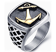 Men's Fashion Vintage Rock Style 316L Titanium Steel Anchor Personality Engraved Jewelry Rings Casual/Daily 1pc