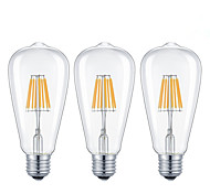 cheap -KWB 3pcs 7W 720 lm E26/E27 LED Filament Bulbs ST64 8 leds COB Dimmable Warm White Cold White AC 220-240 AC 110-130 V