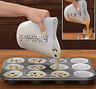 cheap -Heart Shape Silicone Measuring Cup  Cake Batter Dispenser With Measuring Label