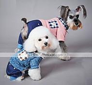 Недорогие -Кошка Собака Комбинезоны Одежда для собак На каждый день В клетку Синий Розовый Костюм Для домашних животных