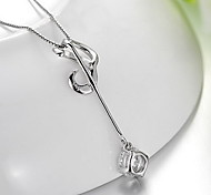 Pendants Music Notes Sterling Silver Zircon Cubic Zirconia Basic Fashion Luxury Jewelry For Daily Casual