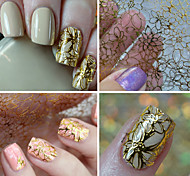 cheap -Gold Stamp 3D Hollow Out Flower Nail Art Stickers