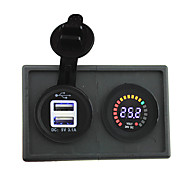 24v llevó adaptador USB voltímetro pantalla y 3.1a digital con panel de soporte de alojamiento para rv del carro del barco del coche