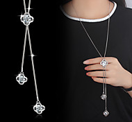 cheap -Flower Imitation Pearl Cubic Zirconia Silver Plated Pendant Necklace Y-Necklace  -  Basic Fashion Silver Necklace For Wedding Party