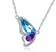 cheap -Women's Butterfly Crystal Crystal Rhinestone Pendant Necklace  -  Love Elegant Fashion Animal Wings / Feather Pink Light Blue Light Green