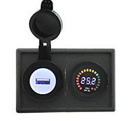 24v llevó adaptador USB voltímetro pantalla y 2.1a digital con panel de soporte de alojamiento para rv del carro del barco del coche