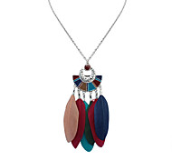 cheap -Women's Geometric Shape Bohemian Fashion European Pendant Necklace Feather Alloy Pendant Necklace Daily Costume Jewelry