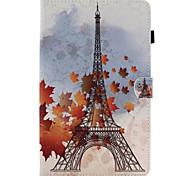 For Samsung Tab T580 Card Holder with Stand Flip Pattern Case Full Body Case Eiffel Tower Hard PU Leather for Tab E 9.6 Tab E 8.0 Tab A 9.7 Tab A 8.0