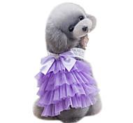 Dog Dress Dog Clothes Summer Lace Cute Wedding Fashion Purple Pink Light Blue