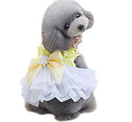 cheap -Dog Tuxedo Dress Dog Clothes Bowknot Yellow Pink Chiffon Costume For Pets Cute Fashion Wedding