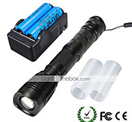 U'King LED Flashlights / Torch LED 2000 lm 5 Mode Cree XM-L T6 with Batteries and Charger Zoomable Adjustable Focus Camping/Hiking/Caving
