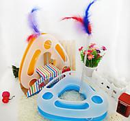 Игрушка для котов Игрушки для животных Интерактивный Дразнилки Игрушка с перьями Трубы и туннели Игровая мышь Скрип Игровой круг с