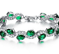 Chain Bracelet Crystal Synthetic Emerald Fashion Crystal Zircon Imitation Diamond Alloy Jewelry Jewelry For Special Occasion Birthday Gift