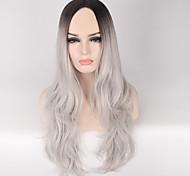 Недорогие -жен. Парики из искусственных волос Без шапочки-основы Длиный Волнистые Черный / серый Темные корни Прямой пробор Волосы с окрашиванием