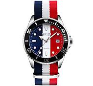 Men's Dress Watch Fashion Watch Wrist watch Calendar Water Resistant / Water Proof Japanese Quartz Fabric Band Cool Black Red