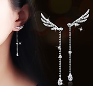 Drop Earrings AAA Cubic Zirconia Zircon Cubic Zirconia Gold Plated Alloy Wings / Feather Jewelry For Wedding Party Daily Casual 1 pair