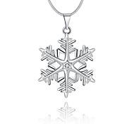 Женский Ожерелья с подвесками Кристалл Геометрической формы Снежинка Стерлинговое серебро Хрусталь Искусственный бриллиант Базовый дизайн