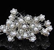 20pcs con forcella forcella forcella go perla copricapo della sposa della chiusura lampo dei capelli del fiore
