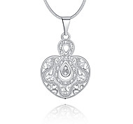 Feminino Colares com Pendentes Cristal Forma Geométrica Infinidade Prata de Lei Cristal imitação de diamanteOriginal Com Logotipo