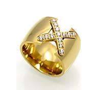 Men's Women's Ring Geometric Rock Euramerican Double-layer Fashion Personalized Cubic Zirconia Titanium Steel Geometric Jewelry For
