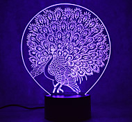 Christmas Peacock Touch Dimming 3D LED Night Light 7Colorful Decoration Atmosphere Lamp Novelty Lighting Christmas Light