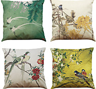 "Set of 4 Chinese Style Retro Pattern Linen Cushion Cover Home Office Sofa Square Pillow Case (18""*18"")"