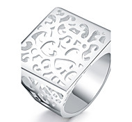 Ring Euramerican Silver Plated Square PatternJewelry For Daily 1pc