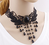 Gothic Lolita Necklace Vintage Inspired Black Lolita Accessories Necklace Solid For Polyester