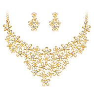 Women's Jewelry Set Flower Style Flowers Fashion Classic Floral Rhinestone Gold Plated Alloy Flower 1 Necklace 1 Pair of Earrings For