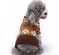 Коты Собаки Плащи Свитера Одежда для собак Зима Весна/осень В снежинку Милые Мода Рождество Серый Кофейный