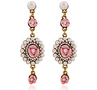 cheap -Women's Flower Crystal Crystal Drop Earrings - Floral / Flower Style / Flowers Hot Pink / Green / Blue Geometric Earrings For Party /