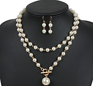Women's Jewelry Set Euramerican Pearl Gray Pearl Gold Pearl Black Pearl Jewelry 1 Necklace 1 Pair of Earrings For Wedding Party Special