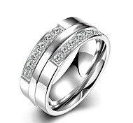 Women's Band Rings Crystal Fashion Simple Style Bridal Titanium Steel Round Jewelry For Wedding Party Special Occasion Anniversary