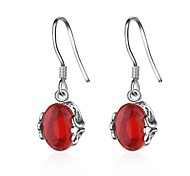 cheap -Women's Onyx Hoop Earrings - Drop Dangling Style, Vintage Retro Red For Birthday / Gift / Casual