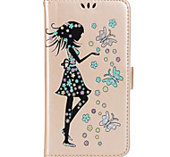 For Case Cover Wallet Card Holder with Stand Flip Pattern Magnetic Full Body Case Butterfly Sexy Lady Glitter Shine Hard PU Leather for