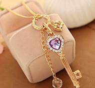 Women's Choker Necklaces Pendant Necklaces Chain Necklaces Crystal Rhinestone Heart Crown Rhinestone Alloy Basic Unique Design Dangling