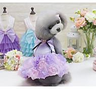Собака Платья Одежда для собак Очаровательный На каждый день Мода Принцесса Серый Лиловый Розовый